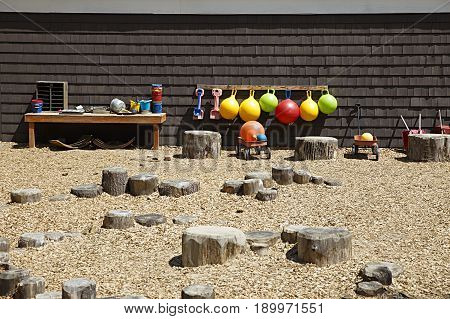 outdoor playground in the children daycare. toys and recreation playground for kids