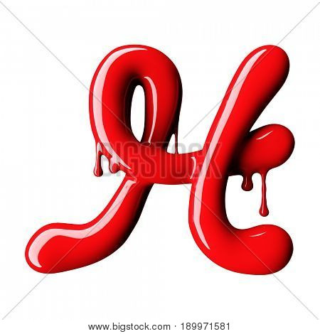 Glossy red letter H uppercase. 3D rendering font with glint isolated on white background.