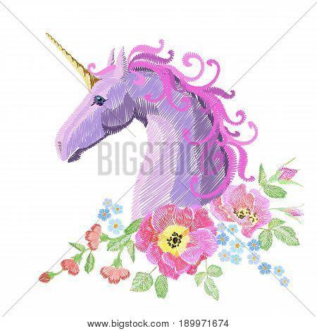 Magic Unicorn embroidery crewel patch sticker fabric print textile. Flower poppy arrangement stitch texture white background. Fantasy girl pink horse head vector illustration art