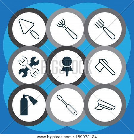 Tools Icons Set. Collection Of Harrow, Putty, Spanner And Other Elements. Also Includes Symbols Such As Firefighter, Screw, Tool.