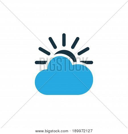 Cloudy Sky Colorful Icon Symbol. Premium Quality Isolated Overcast Element In Trendy Style.