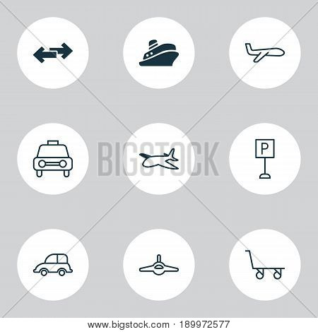 Transportation Icons Set. Collection Of Plane, Roadsign, Travel Boat And Other Elements. Also Includes Symbols Such As Trolley, Parking, Car.