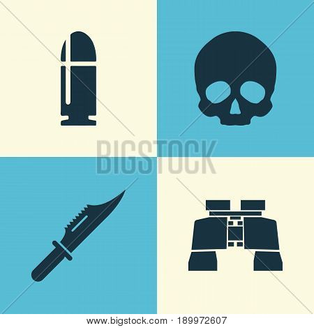 Warfare Icons Set. Collection Of Cranium, Slug, Cutter And Other Elements. Also Includes Symbols Such As Head, Binoculars, Glass.