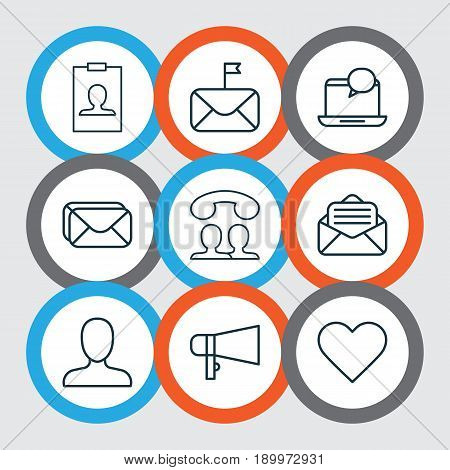 Communication Icons Set. Collection Of Mailbox, Significant Letter, Mail Notification And Other Elements. Also Includes Symbols Such As Message, Call, Loudspeaker.