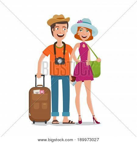 Travel, journey, honeymoon trip concept. People, couple goes on vacation with bags in hands. Cartoon vector illustration isolated on white background