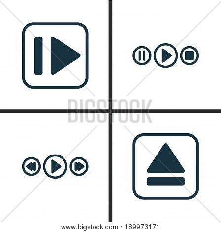 Music Icons Set. Collection Of Following Music, Song UI, Music Control And Other Elements. Also Includes Symbols Such As Play, Forward, Eject.