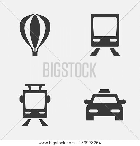 Shipment Icons Set. Collection Of Cab, Streetcar, Airship And Other Elements. Also Includes Symbols Such As Trolley, Railway, Tram.