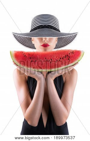 Summertime concept with girl with swimsuit and watermelon