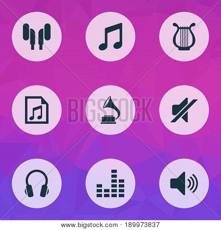 Audio Icons Set. Collection Of Equalizer, Phonograph, File And Other Elements. Also Includes Symbols Such As Headset, Mute, Earphone.