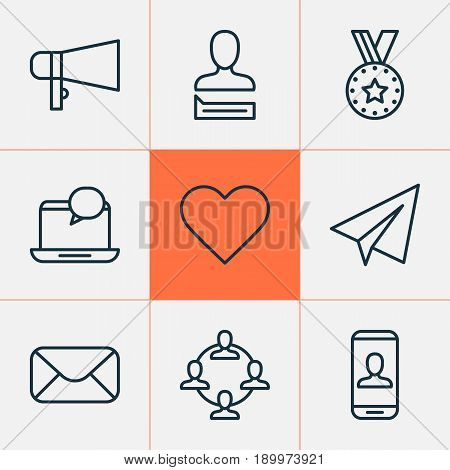 Social Icons Set. Collection Of Follow, Message, Privacy Information And Other Elements. Also Includes Symbols Such As Social, Soul, Medal.