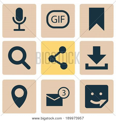 Social Icons Set. Collection Of Magnifier, Flag, Down Arrow And Other Elements. Also Includes Symbols Such As Download, Chat, Seek.
