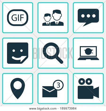 Media Icons Set. Collection Of Pin, Chat, Camcorder And Other Elements. Also Includes Symbols Such As Pin, Laptop, Mates.