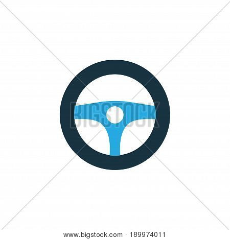 Drive Control Colorful Icon Symbol. Premium Quality Isolated Steering Wheel Element In Trendy Style.