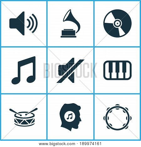 Music Icons Set. Collection Of Phonograph, Sound, Octave And Other Elements. Also Includes Symbols Such As Vinyl, Tambourine, Piano.
