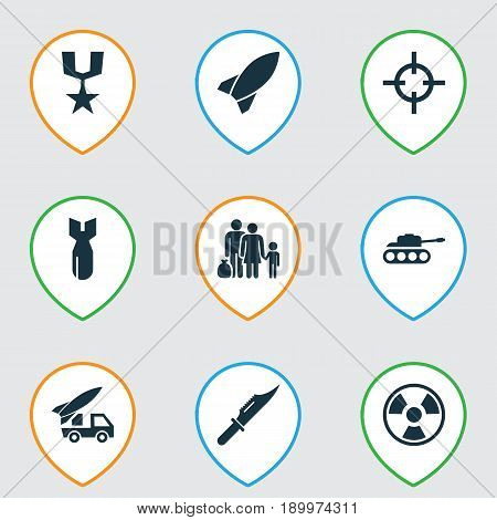 Warfare Icons Set. Collection Of Missile, Order, Cutter And Other Elements. Also Includes Symbols Such As Bio, Mechanism, Bomb.