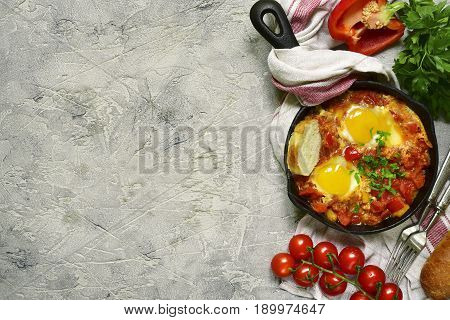 Shakshuka-traditional Israeli Tomato Stew With Eggs.top View With Copy Space.