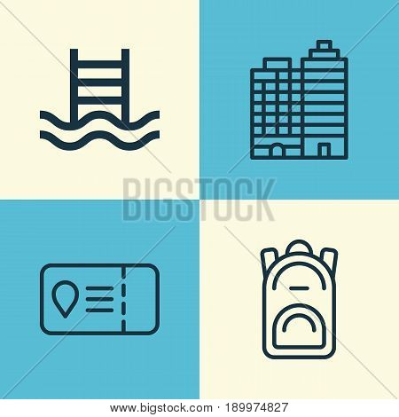 Tourism Icons Set. Collection Of Basin Ladder, Rucksack, Trip Access And Other Elements. Also Includes Symbols Such As Backpack, Swimming, Travel.