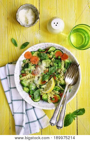 Pasta Primavera - Traditional Spring Italian Recipe.top View.