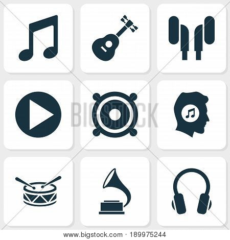 Multimedia Icons Set. Collection Of Phonograph, Meloman, Megaphone And Other Elements. Also Includes Symbols Such As Megaphone, Earmuff, Music.
