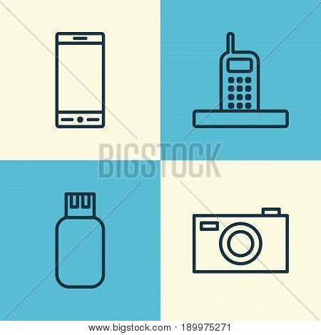 Hardware Icons Set. Collection Of Digital Camera, Call, Telephone And Other Elements. Also Includes Symbols Such As Call, Phone, Drive.