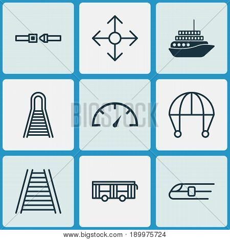 Transportation Icons Set. Collection Of Railroad, Skydive, Metro And Other Elements. Also Includes Symbols Such As Railroad, Arrow, Speedometer.