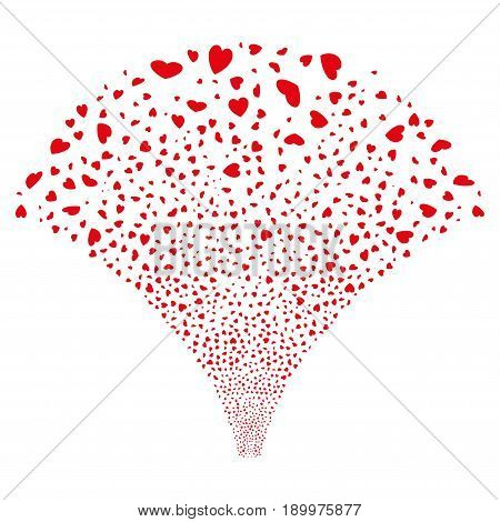 Source of valentine petals icons. Vector illustration style is flat red iconic symbols on a white background. Object source created from random pictograms.