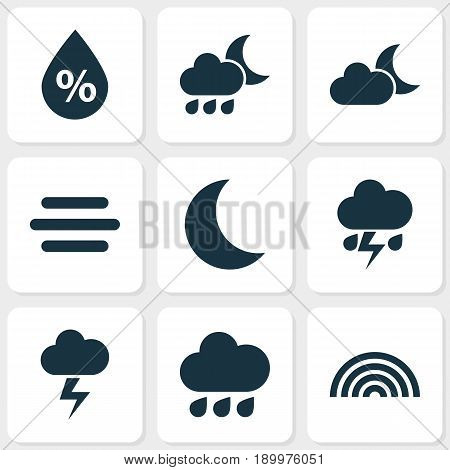 Climate Icons Set. Collection Of Lightning, Flash, Nightly And Other Elements. Also Includes Symbols Such As Outbreak, Nightly, Moon.
