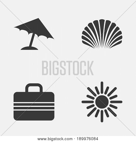 Icons Set. Collection Of Conch, Baggage, Parasol And Other Elements. Also Includes Symbols Such As Sea, Conch, Sunny.