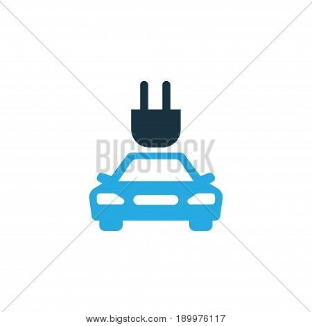Plug Colorful Icon Symbol. Premium Quality Isolated Electric Car Element In Trendy Style.