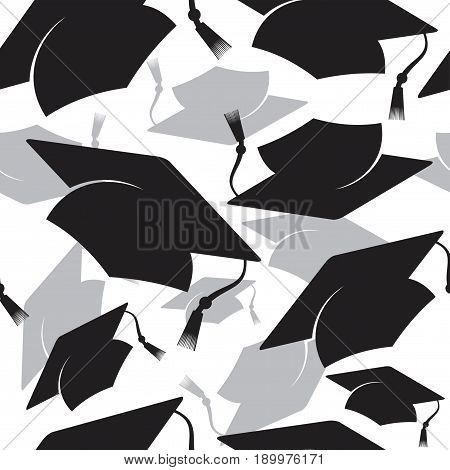 seamless background threw up Graduation cap vector