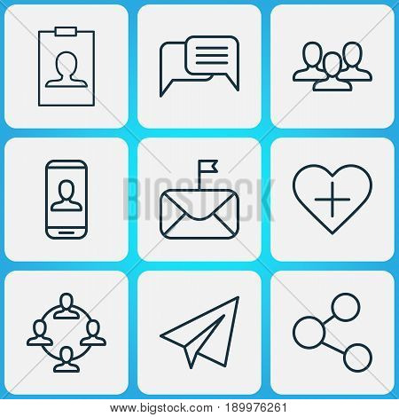 Communication Icons Set. Collection Of Identity Card, Team, Startup And Other Elements. Also Includes Symbols Such As Team, Follow, Significant.