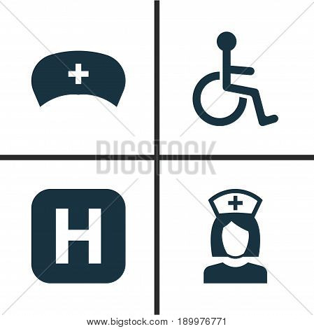Antibiotic Icons Set. Collection Of Cap, Disabled, Nanny And Other Elements. Also Includes Symbols Such As Health, Disabled, Cap.