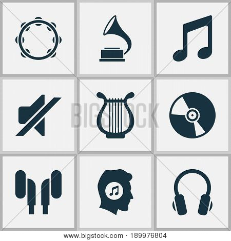 Audio Icons Set. Collection Of Lyre, Cd, Timbrel And Other Elements. Also Includes Symbols Such As Earmuff, Percussion, Timbrel.
