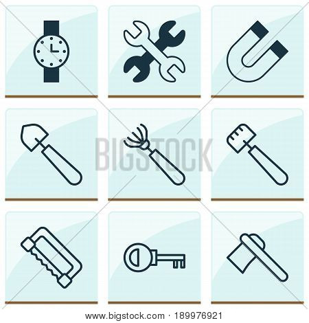 Apparatus Icons Set. Collection Of Password, Tomahawk, Harrow And Other Elements. Also Includes Symbols Such As Key, Tool, Access.