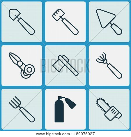 Apparatus Icons Set. Collection Of Firefighter, Clippers, Putty And Other Elements. Also Includes Symbols Such As Scoop, Rake, Garden.