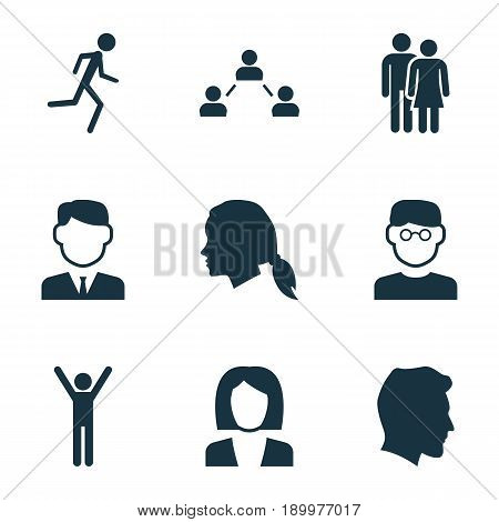 Person Icons Set. Collection Of Happy, Work Man, Running And Other Elements. Also Includes Symbols Such As Work, Smart, Woman.