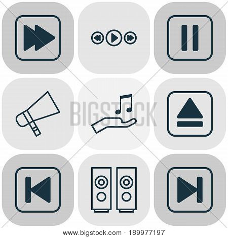 Music Icons Set. Collection Of Note Donate, Following Song, Bullhorn And Other Elements. Also Includes Symbols Such As Sell, Backward, Back.