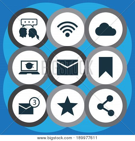 Social Icons Set. Collection Of Publish, Inbox, Wireless Connection And Other Elements. Also Includes Symbols Such As Web, Mail, Conversation.
