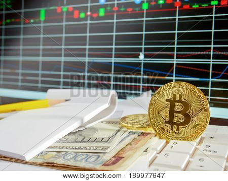 Golden bitcoin with banknote and stock market grap conceptual for crypto currency background