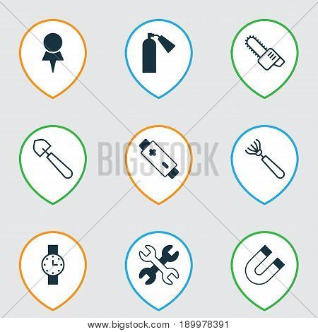 Apparatus Icons Set. Collection Of Harrow, Scoop, Location And Other Elements. Also Includes Symbols Such As Pin, Trowel, Watch.