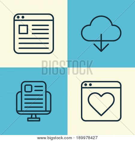 Connection Icons Set. Collection Of Blog Page, Followed Website, Website Page And Other Elements. Also Includes Symbols Such As News, Cloud, Storage.
