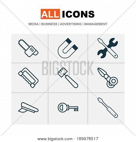 Apparatus Icons Set. Collection Of Clippers, Carpentry, Gasoline Cutter And Other Elements. Also Includes Symbols Such As Attraction, Screw, Cutting.