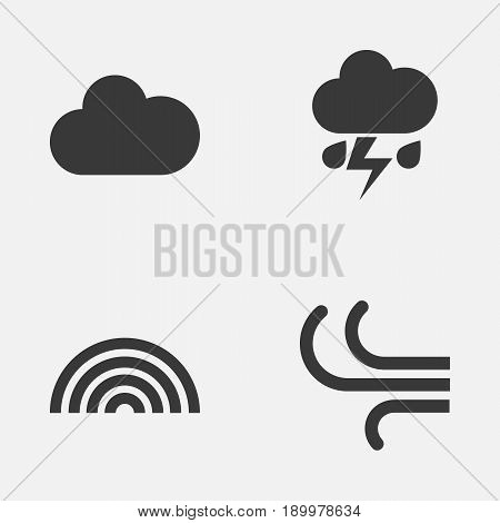 Air Icons Set. Collection Of Colors, Breeze, Flash And Other Elements. Also Includes Symbols Such As Wind, Flash, Cloudy.