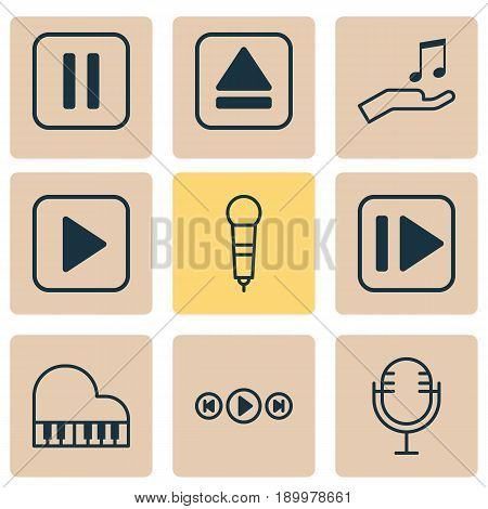 Audio Icons Set. Collection Of Note Donate, Audio Buttons, Extract Device And Other Elements. Also Includes Symbols Such As Play, Start, Eject.