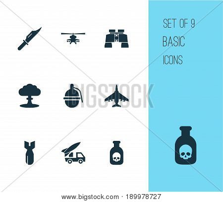 Combat Icons Set. Collection Of Glass, Chopper, Atom And Other Elements. Also Includes Symbols Such As Ordnance, Bomber, Explosion.