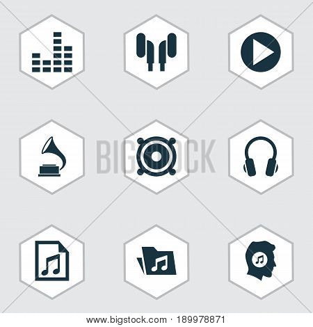 Multimedia Icons Set. Collection Of File, Equalizer, Dossier And Other Elements. Also Includes Symbols Such As Gramophone, Music, Phonograph.