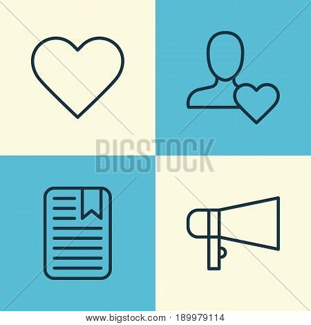 Communication Icons Set. Collection Of Bullhorn, Favorite Person, Follow And Other Elements. Also Includes Symbols Such As Amplifier, User, Paper.