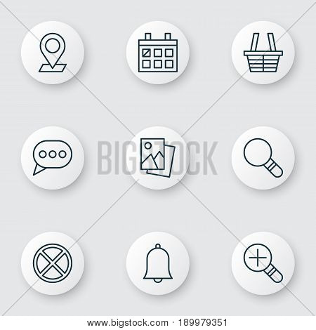 Icons Set. Collection Of Landscape Photo, Shop, Exit Elements. Also Includes Symbols Such As Landscape, Photo, Basket.