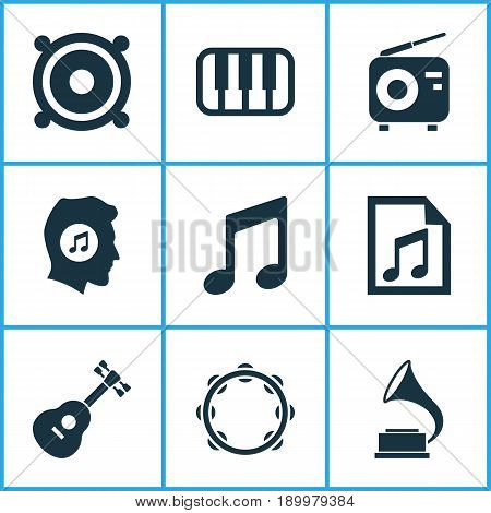 Audio Icons Set. Collection Of Octave, Tuner, Meloman And Other Elements. Also Includes Symbols Such As File, Phonograph, Playlist.