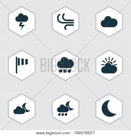 Weather Icons Set. Collection Of Flag, Moon, Moonlight And Other Elements. Also Includes Symbols Such As Cold, Snow, Vane.